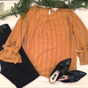 Monteau Mustard Striped Bell Sleeve Blouse